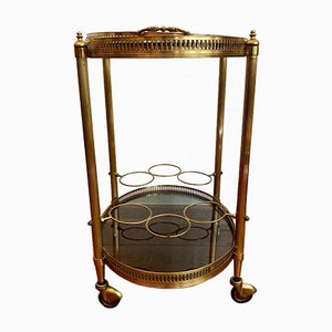 Oval French Brass Bar Cart