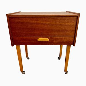 Small Mid-Century Wooden Sewing Box