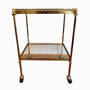 Neoclassical French Brass Bar Cart with Removable Tray