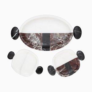 Kleine Marmorteller und Tablett von Matteo Cibic, 3er Set