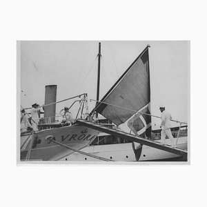 Unknown, Fascism, Benito Mussolini Boarding in Gaeta, Vintage Black & White Photo, 1937