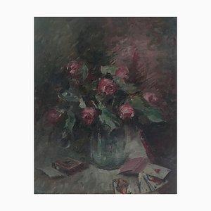 Henri Fehr, Nature Morte au Vase de Roses et Jeu de Cartes, 1933