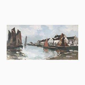 Fernand Herbo, Voiliers à Quai en Normandie, 1953