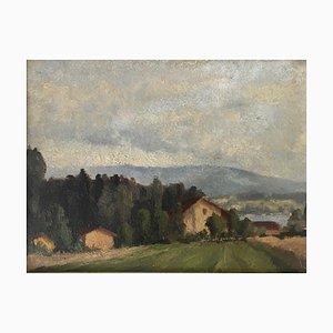 Marius Chambaz, Près des Tuileries avec vue sur lac et le Salève, 1933
