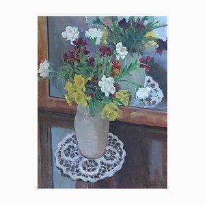 Benjamin II Vautier, Nature morte Fleurs en vase au Napperon, 1925