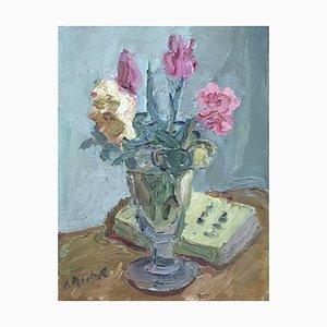 Alexandre Rochat, Bouquet de Fleurs et Vase en Verre, 1954