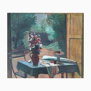 Georges Darel, Table Fleurie et vue sur Jardin, 1937