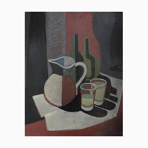 Xavier Albert Fiala, Nature Morte Cubiste au Pichet et Bouteilles, 1946