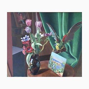 Alexis Louis Roche, Nature morte au Perroquet, 1957