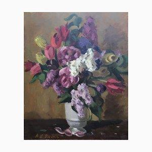 Alexis Louis Roche, Bouquet de Fleurs, Tulipes, Lilas, Pivoines, 1927