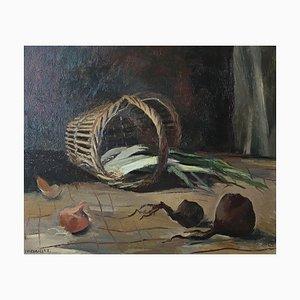 Herbert Theurillat, Nature morte à l'ail, oignon et poireaux, 1963
