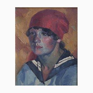 Casimir Reymond, Portrait de Jeune Fille au Foulard Rouge et col Marin, 1954