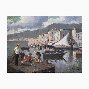 Giuseppe Iannicella, Village de pêcheurs et réparation des filets - côte amalfitaine, 1974