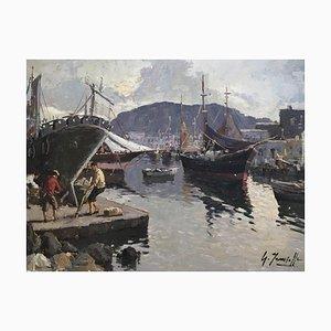 Giuseppe Iannicella, Village de pêcheurs et réparation des bateaux - côte amalfitaine, 1974