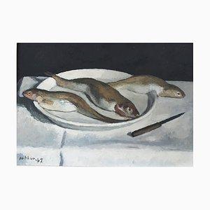 Edouard Arthur, Assiette de poissons, 1948