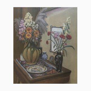 Gabriel Edouard Haberjahn, Nature morte aux fleurs et poteries, 1923