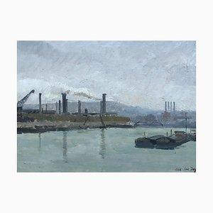 Lucien Jaggi, Port fluvial et péniches, 1928