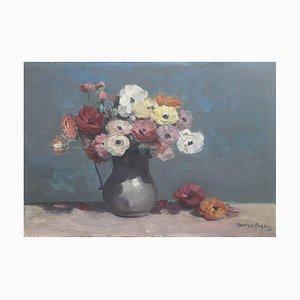 Charles Breton, Bouquet de Fleurs au Pichet en Terre Cuite, 1919