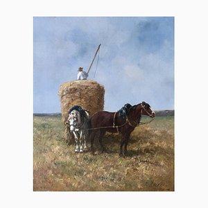 Léon Georges, Calves Ramassage et transport de foin en charrette, 1900
