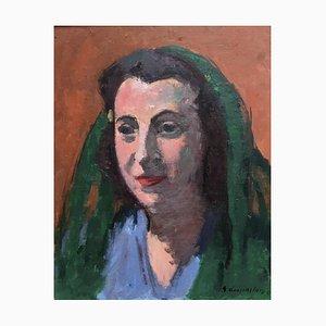 Georges Dessouslavy, Portrait de Femme au Foulard Vert, 1943