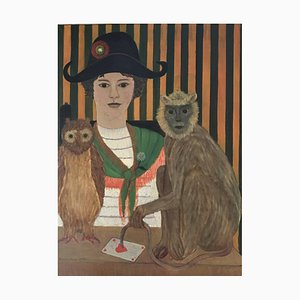 Jacqueline Fromenteau, Jeune fille au bicorne, singe, hibou, et dame de coeur, 1970