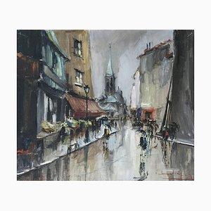 Bernard Lignon, Rue de marché animée par jour la pluie, 1969