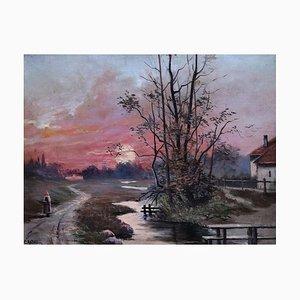 Christian Axtmann, Paysanne marchant au crépuscule, 1917