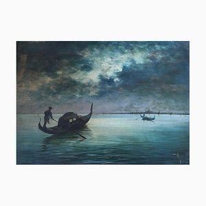 Carlo Vason, Gondoles sur la Lagune et vue sur Venise, 1959