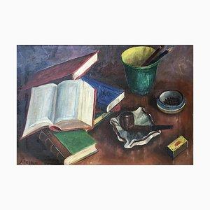 S. Pagani, Nature Morte aux Livres et à la Pipe, 1962