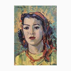 Ernst Georg Heussler, Portrait de Jeune Femme au Foulard, 1948