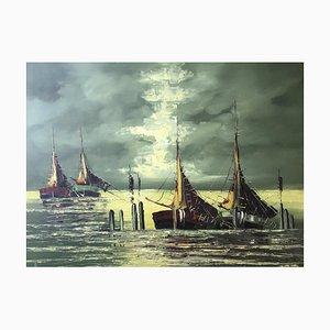 Alfonso Bonin, Barques de Pêcheurs dans la Lagune, 1972