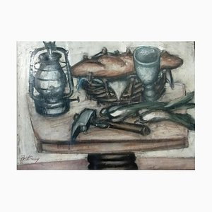 Franz Priking, Nature Morte au pain et Sardines, 1955