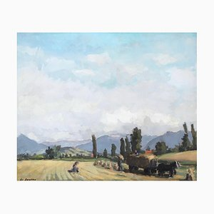 Christian Zwahlen, Paysage de Campagne Genevoise, Vue sur le Môle, 1954