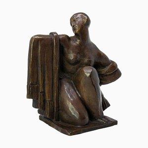 Art Deco Bronze Draped Woman Sculpture by Eugène Canneel, Belgium