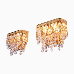 German Glamorous Jewel Wall Lamp in Crystal & Gilt-Brass from Palwa, Set of 2