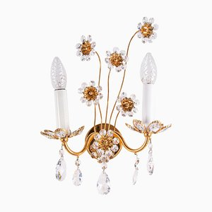 German Glamorous Jewel Wall Lamp in Crystal & Gilt-Brass from Palwa, 1960