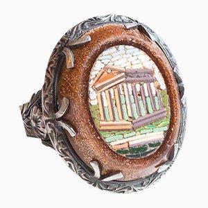 Antiker Ring aus 12 Karat Gold und Silber mit Mikromosaik und Aventurin, 1800er