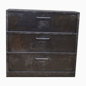 Industrial Metal Cabinet with 3 Drawers with Label Holders, 1950s