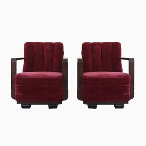 Danish Art Deco Curved Lounge Chairs with Armrests in Stained Beech, 1930s, Set of 2
