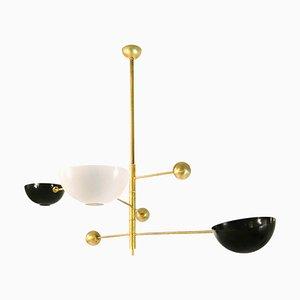 Lampada da soffitto mobile in ottone, Italia, anni '70
