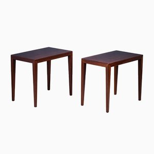 Side Tables in Mahogany by Severin Hansen for Haslev Møbelsnedkeri, Denmark, 1950s, Set of 2