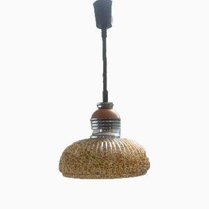 Pendant Lamp in Steel, Wood and Tortoiseshell Murano Glass