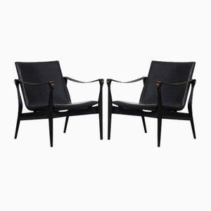 Danish Oak and Leather Safari Lounge Chairs by Karen & Ebbe Clemmensen for Fritz Hansen, 1960s, Set of 2