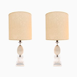 Lampade da tavolo moderniste di Maison Barbier, anni '70, set di 2