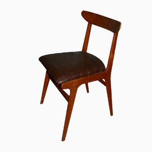 Teak & Leather Dining Chair, 1960s