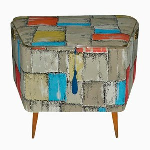 Colorful Patterned Linen Chest or Ottoman, 1950s