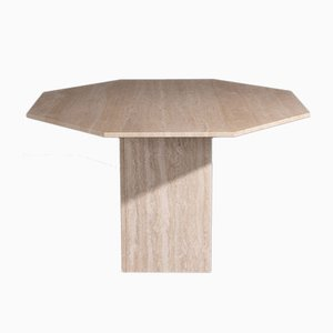 Travertine Dining Table with Octagonal Top