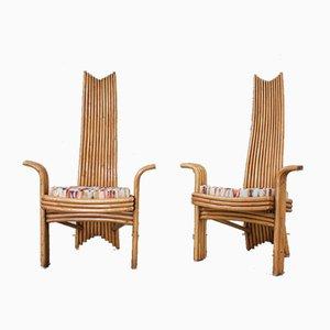 Bamboo Esszimmerstühle von McGuire, 1970er, 6er Set