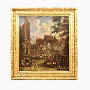 Antike Bamboccianti Landschaftsmalerei