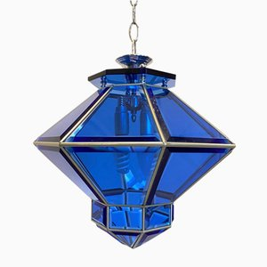 Blue Glass Ceiling Lamp, 1960s